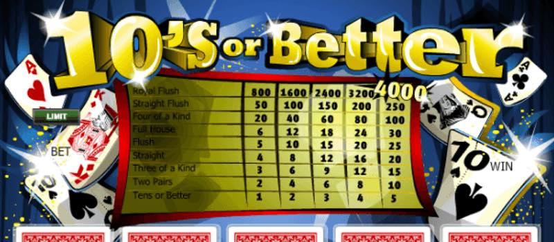 Tens Or Better Video Poker